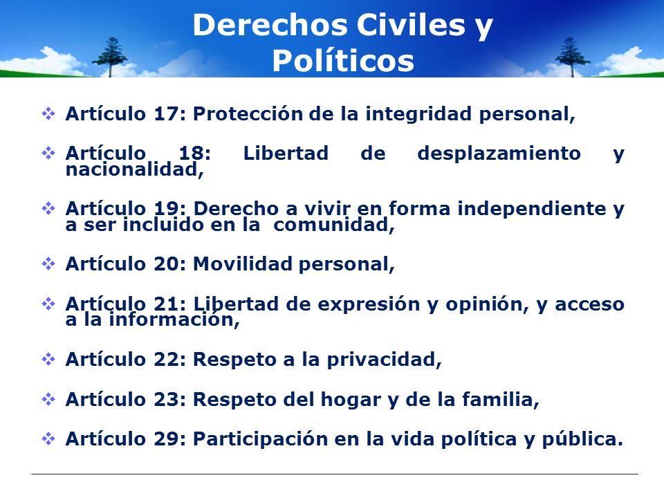 Derechos Civiles y Políticos Artículo 17: Protección de la integridad personal, Artículo 18: Libertad de desplazamiento y nacionalidad, Artículo 19: D