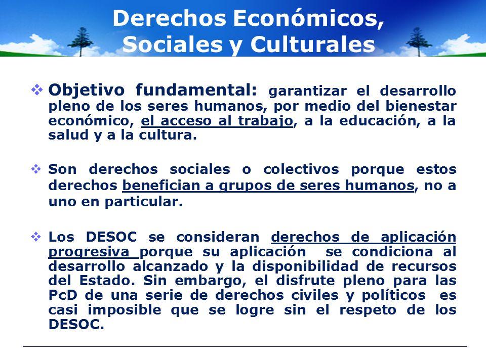 Derechos Económicos, Sociales y Culturales Objetivo fundamental: garantizar el desarrollo pleno de los seres humanos, por medio del bienestar económic