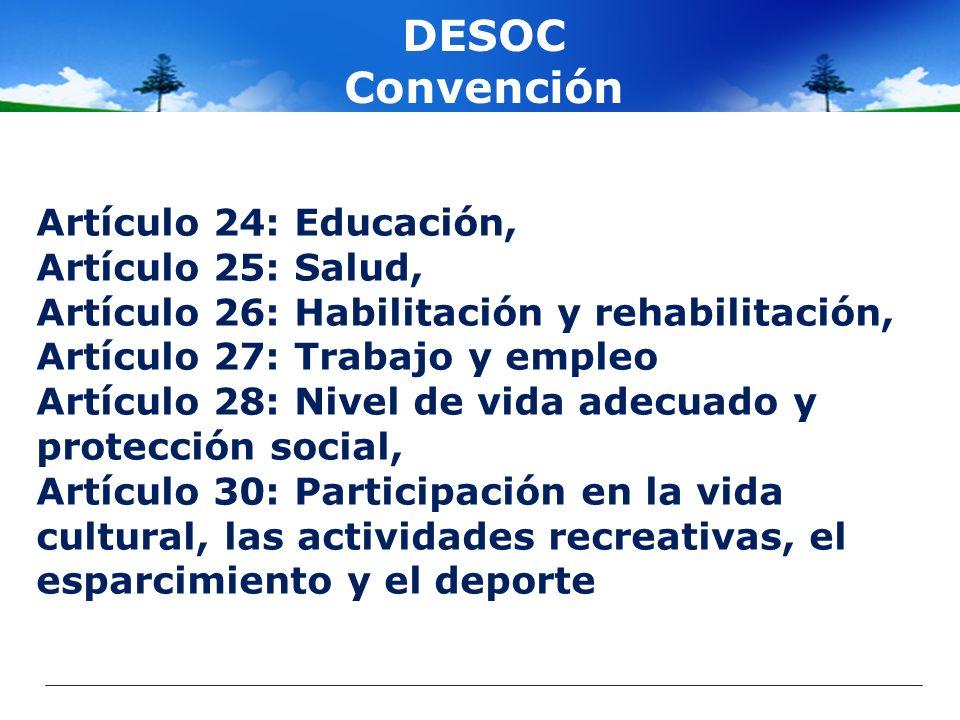 DESOC Convención Artículo 24: Educación, Artículo 25: Salud, Artículo 26: Habilitación y rehabilitación, Artículo 27: Trabajo y empleo Artículo 28: Ni