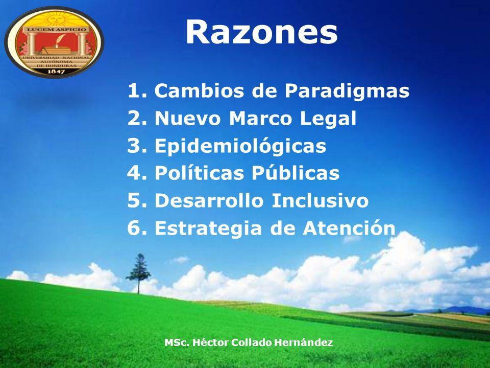 LOGO Razones 1. Cambios de Paradigmas 2. Nuevo Marco Legal 3. Epidemiológicas 4. Políticas Públicas 5. Desarrollo Inclusivo 6. Estrategia de Atención
