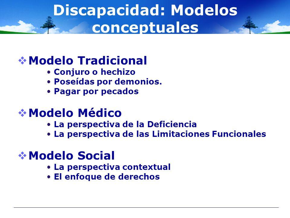 Discapacidad: Modelos conceptuales Modelo Tradicional Conjuro o hechizo Poseídas por demonios. Pagar por pecados Modelo Médico La perspectiva de la De