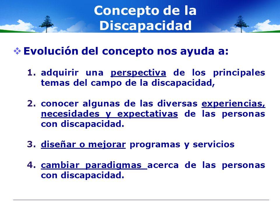 Concepto de la Discapacidad Evolución del concepto nos ayuda a: 1.adquirir una perspectiva de los principales temas del campo de la discapacidad, 2.co
