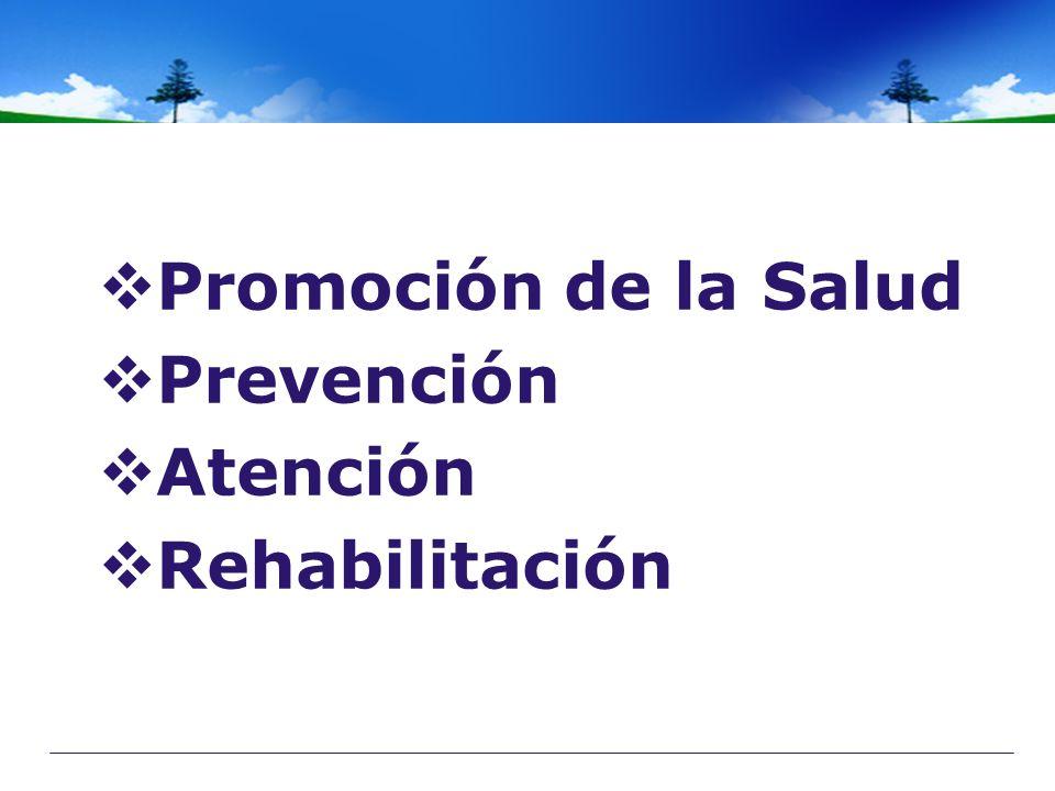 Promoción de la Salud Promoción de la Salud Prevención Prevención Atención Atención Rehabilitación Rehabilitación