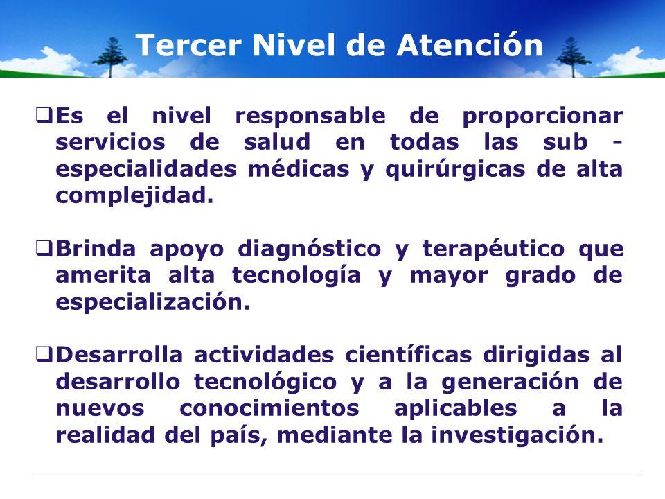 Tercer Nivel de Atención Es el nivel responsable de proporcionar servicios de salud en todas las sub - especialidades médicas y quirúrgicas de alta co