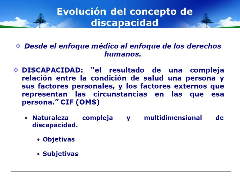Evolución del concepto de discapacidad Desde el enfoque médico al enfoque de los derechos humanos. DISCAPACIDAD: el resultado de una compleja relación