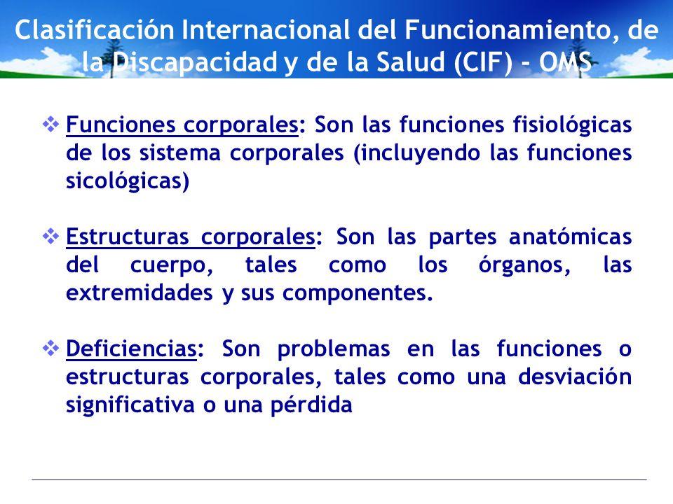 Clasificación Internacional del Funcionamiento, de la Discapacidad y de la Salud (CIF) - OMS Funciones corporales: Son las funciones fisiológicas de l