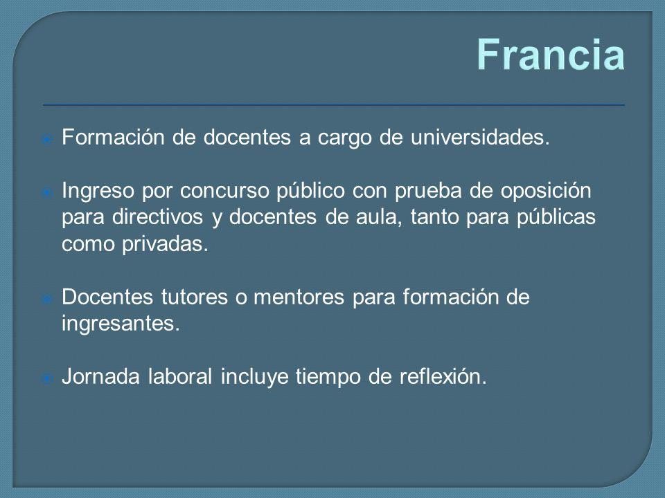 Francia Formación de docentes a cargo de universidades. Ingreso por concurso público con prueba de oposición para directivos y docentes de aula, tanto