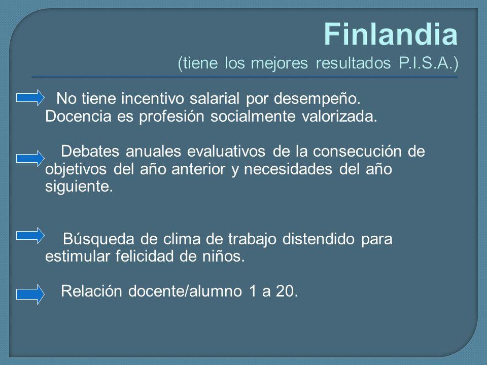 Finlandia (tiene los mejores resultados P.I.S.A.) No tiene incentivo salarial por desempeño. Docencia es profesión socialmente valorizada. Debates anu