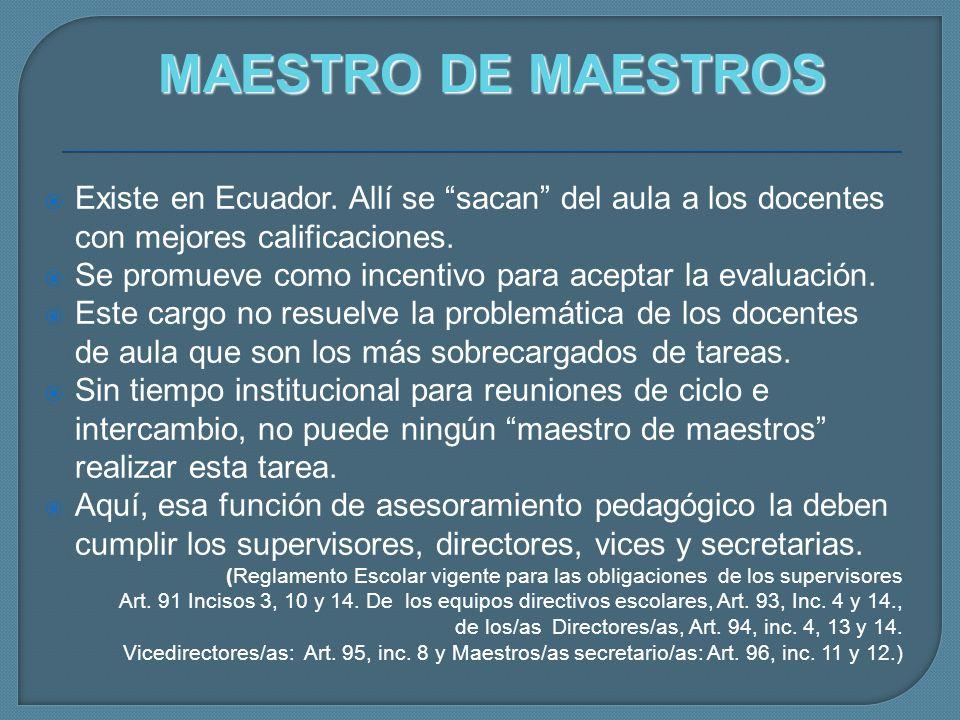 Existe en Ecuador. Allí se sacan del aula a los docentes con mejores calificaciones. Se promueve como incentivo para aceptar la evaluación. Este cargo