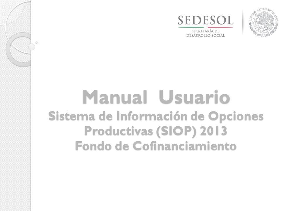 Manual Usuario Sistema de Información de Opciones Productivas (SIOP) 2013 Fondo de Cofinanciamiento