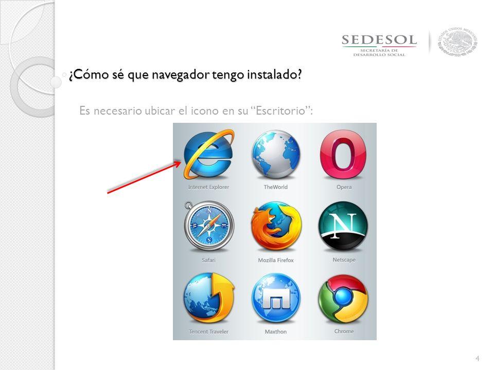 4 Es necesario ubicar el icono en su Escritorio: ¿Cómo sé que navegador tengo instalado?
