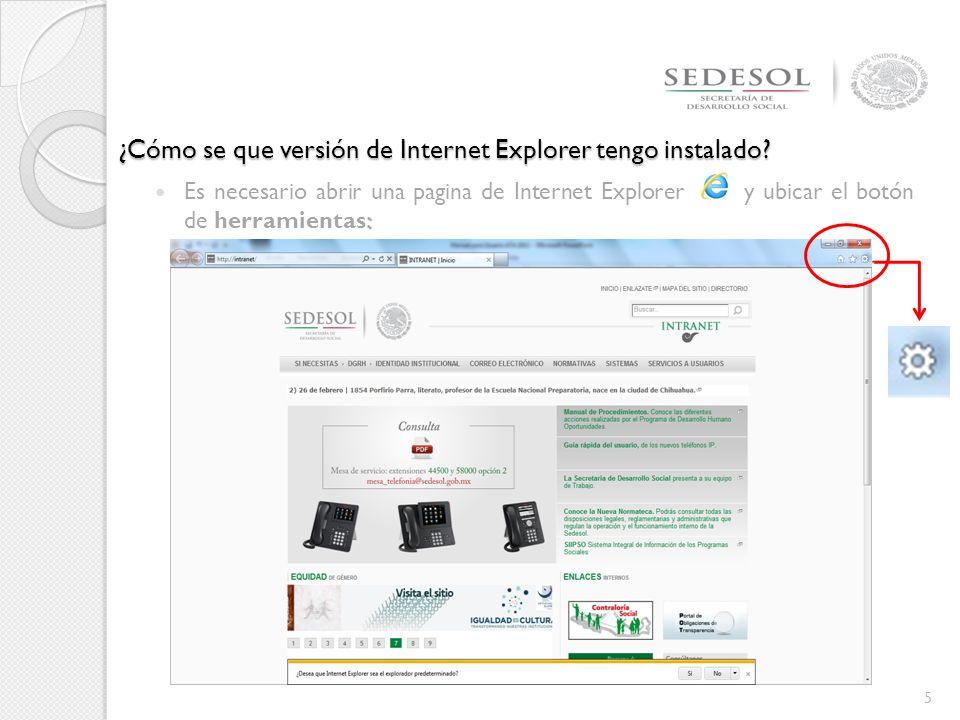 ¿Cómo se que versión de Internet Explorer tengo instalado.