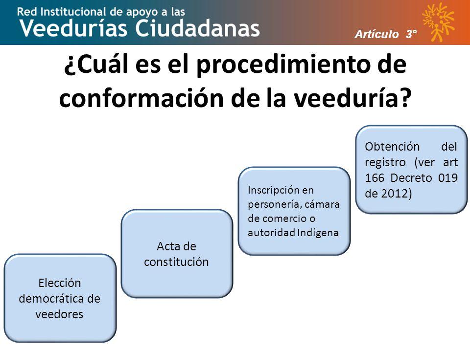 ¿Cuál es el procedimiento de conformación de la veeduría.