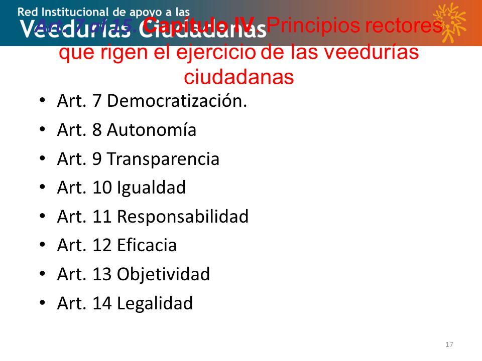 17 Art.7 al 15. Capítulo IV.