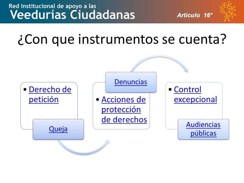 ¿Con que instrumentos se cuenta? Artículo 16°