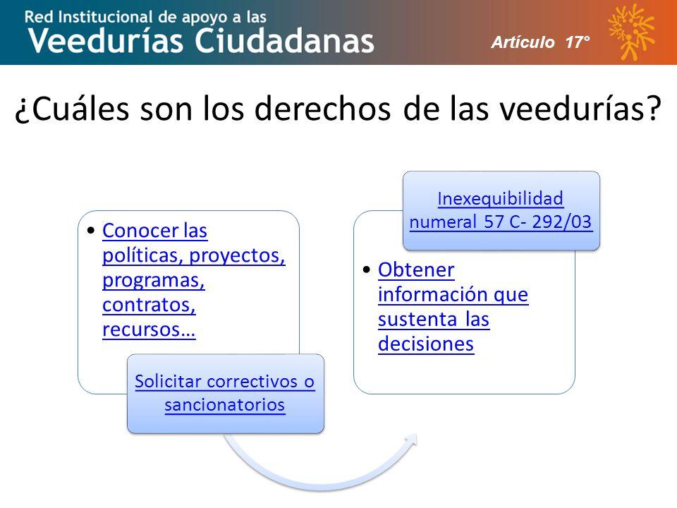 ¿Cuáles son los derechos de las veedurías? Artículo 17°