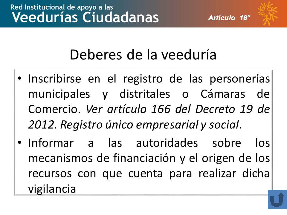 Deberes de la veeduría Inscribirse en el registro de las personerías municipales y distritales o Cámaras de Comercio.