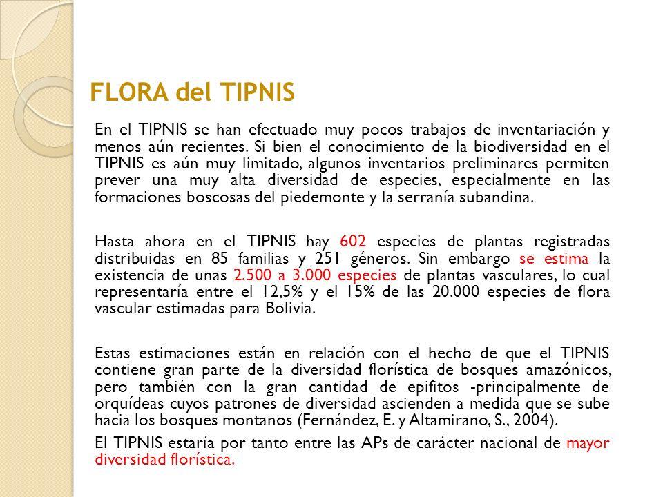 En el TIPNIS se han efectuado muy pocos trabajos de inventariación y menos aún recientes. Si bien el conocimiento de la biodiversidad en el TIPNIS es