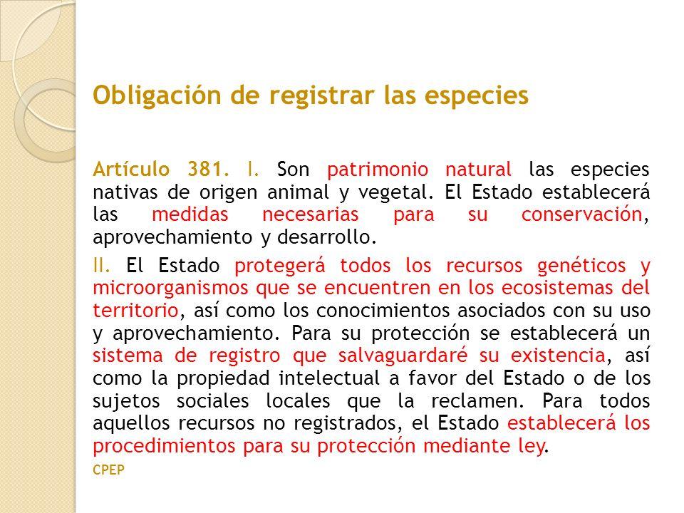 Artículo 381. I. Son patrimonio natural las especies nativas de origen animal y vegetal. El Estado establecerá las medidas necesarias para su conserva