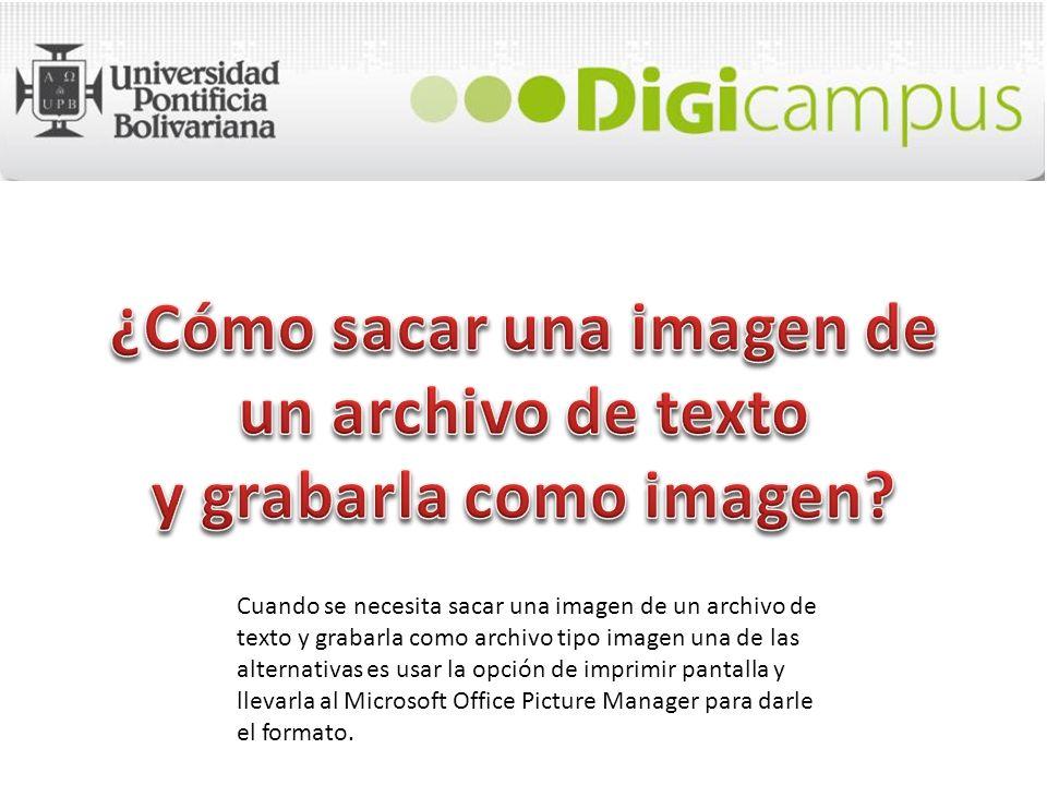 Cuando se necesita sacar una imagen de un archivo de texto y grabarla como archivo tipo imagen una de las alternativas es usar la opción de imprimir p