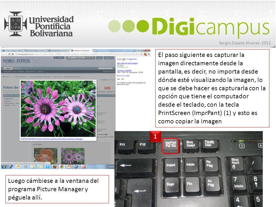 Sergio Zapata Alvarez -2012 La imagen queda en un formato de mapa de bits (bmp), ahora presione doble clic sobre la miniatura y luego ingrese a la opción de Editar imágenes… para realizar los recortes o modificaciones que necesite.