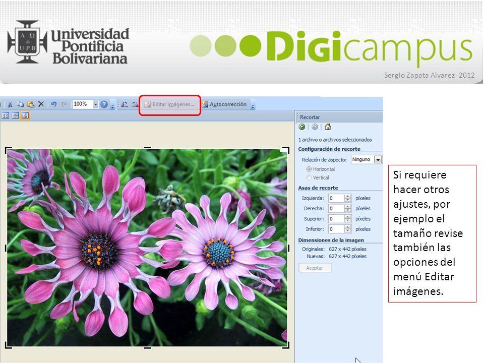 Sergio Zapata Alvarez -2012 Si requiere hacer otros ajustes, por ejemplo el tamaño revise también las opciones del menú Editar imágenes.