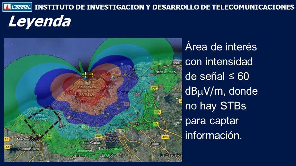 INSTITUTO DE INVESTIGACION Y DESARROLLO DE TELECOMUNICACIONES Leyenda Área de interés con intensidad de señal 60 dB V/m, donde no hay STBs para captar información.