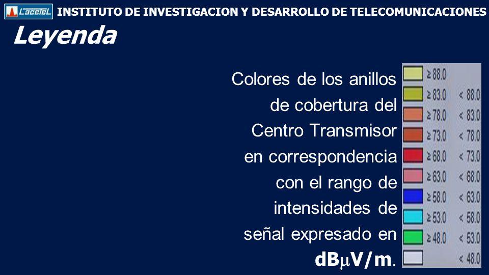 INSTITUTO DE INVESTIGACION Y DESARROLLO DE TELECOMUNICACIONES Colores de los anillos de cobertura del Centro Transmisor en correspondencia con el rango de intensidades de señal expresado en dB V/m.