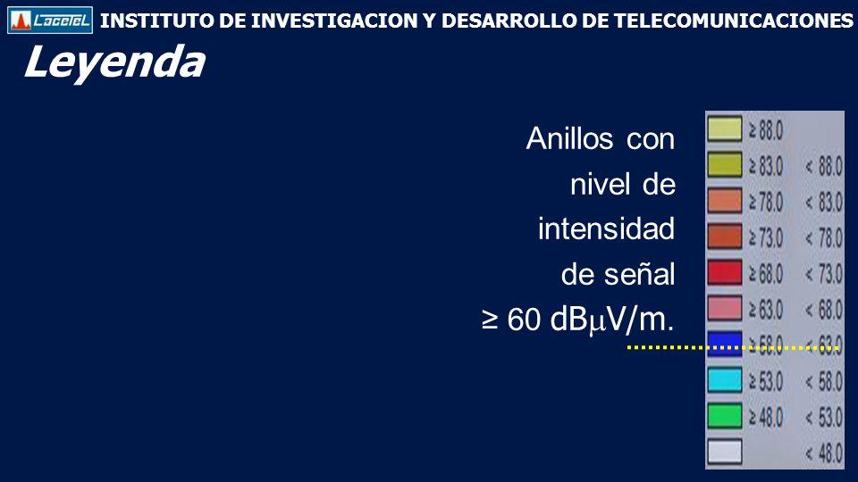INSTITUTO DE INVESTIGACION Y DESARROLLO DE TELECOMUNICACIONES Anillos con nivel de intensidad de señal 60 dB V/m.