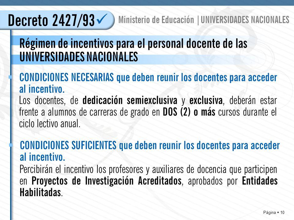 Página 10 Decreto 2427/93 Régimen de incentivos para el personal docente de las UNIVERSIDADES NACIONALES Ministerio de Educación |UNIVERSIDADES NACIONALES Los docentes, de dedicación semiexclusiva y exclusiva, deberán estar frente a alumnos de carreras de grado en DOS (2) o más cursos durante el ciclo lectivo anual.