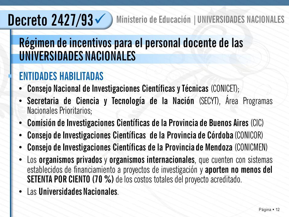 Página 12 Régimen de incentivos para el personal docente de las UNIVERSIDADES NACIONALES Decreto 2427/93 Ministerio de Educación |UNIVERSIDADES NACIONALES Consejo Nacional de Investigaciones Científicas y Técnicas (CONICET); Secretaria de Ciencia y Tecnología de la Nación (SECYT), Área Programas Nacionales Prioritarios; Comisión de Investigaciones Científicas de la Provincia de Buenos Aires (CIC) Consejo de Investigaciones Científicas de la Provincia de Córdoba (CONICOR) Consejo de Investigaciones Científicas de la Provincia de Mendoza (CONICMEN) Los organismos privados y organismos internacionales, que cuenten con sistemas establecidos de financiamiento a proyectos de investigación y aporten no menos del SETENTA POR CIENTO (70 %) de los costos totales del proyecto acreditado.