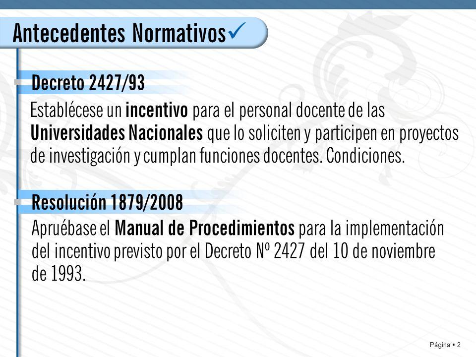 Página 23 Resolución 1879/08 MANUAL DE PROCEDIMIENTOS para la implementación del incentivo previsto por el Decreto Nº 2427 UNIVERSIDADES NACIONALES COMISIONES REGIONALES DE CATEGORIZACION – Presidente Funciones a)Coordinar el funcionamiento de la Comisión Regional de Categorización.