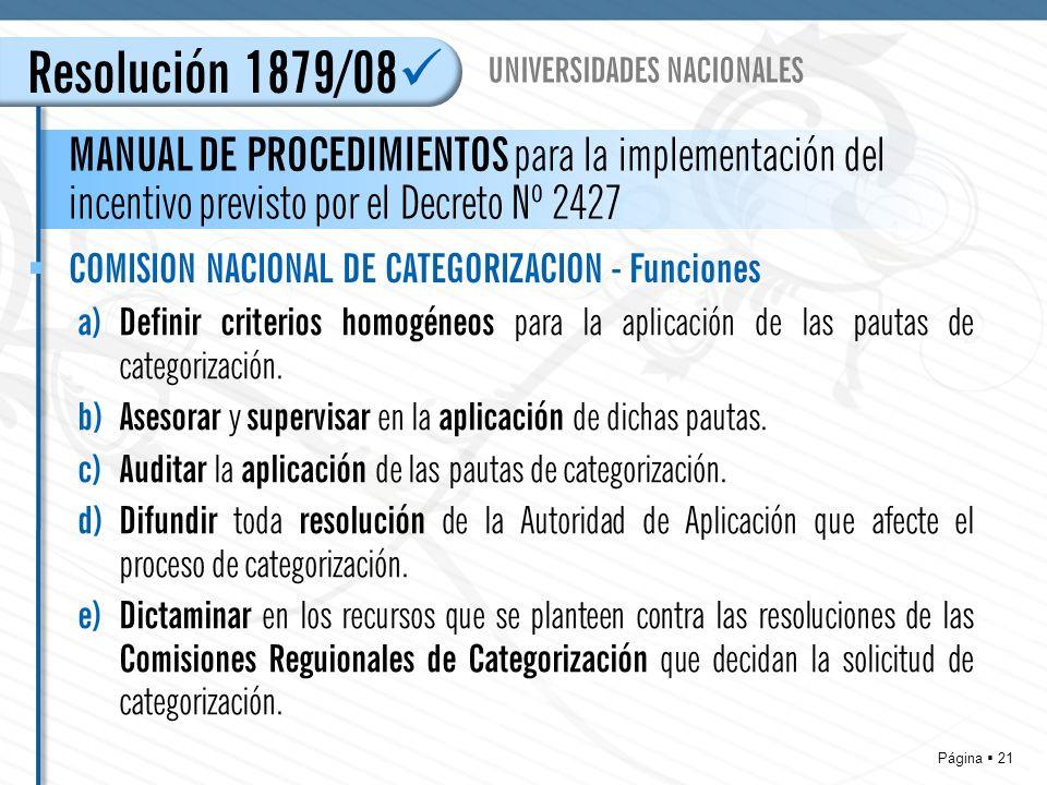 Página 21 Resolución 1879/08 MANUAL DE PROCEDIMIENTOS para la implementación del incentivo previsto por el Decreto Nº 2427 UNIVERSIDADES NACIONALES COMISION NACIONAL DE CATEGORIZACION - Funciones a)Definir criterios homogéneos para la aplicación de las pautas de categorización.