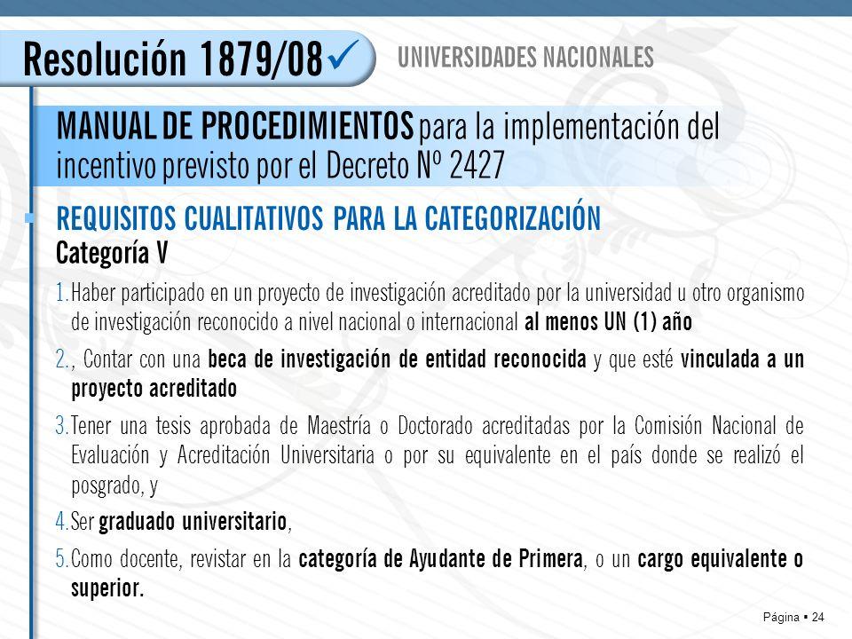 Página 24 Resolución 1879/08 MANUAL DE PROCEDIMIENTOS para la implementación del incentivo previsto por el Decreto Nº 2427 UNIVERSIDADES NACIONALES REQUISITOS CUALITATIVOS PARA LA CATEGORIZACIÓN Categoría V 1.Haber participado en un proyecto de investigación acreditado por la universidad u otro organismo de investigación reconocido a nivel nacional o internacional al menos UN (1) año 2., Contar con una beca de investigación de entidad reconocida y que esté vinculada a un proyecto acreditado 3.Tener una tesis aprobada de Maestría o Doctorado acreditadas por la Comisión Nacional de Evaluación y Acreditación Universitaria o por su equivalente en el país donde se realizó el posgrado, y 4.Ser graduado universitario, 5.Como docente, revistar en la categoría de Ayudante de Primera, o un cargo equivalente o superior.