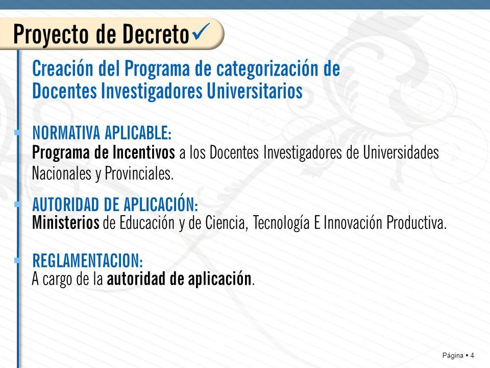 Página 4 Proyecto de Decreto Creación del Programa de categorización de Docentes Investigadores Universitarios Programa de Incentivos a los Docentes Investigadores de Universidades Nacionales y Provinciales.