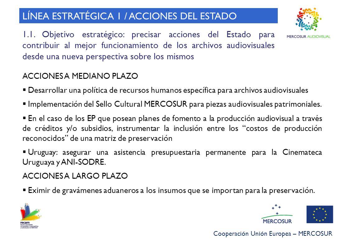Cooperación Unión Europea – MERCOSUR ACCIONES A MEDIANO PLAZO Desarrollar una política de recursos humanos específica para archivos audiovisuales Impl