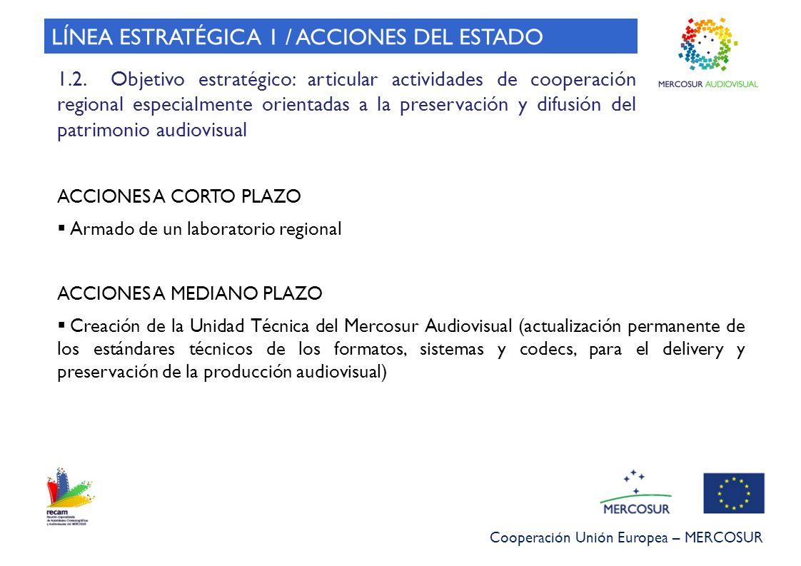 Cooperación Unión Europea – MERCOSUR ACCIONES A CORTO PLAZO Armado de un laboratorio regional ACCIONES A MEDIANO PLAZO Creación de la Unidad Técnica d