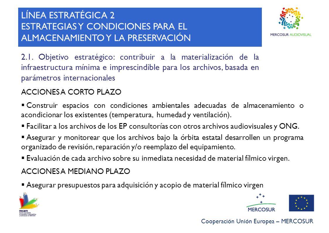 Cooperación Unión Europea – MERCOSUR LÍNEA ESTRATÉGICA 2 ESTRATEGIAS Y CONDICIONES PARA EL ALMACENAMIENTO Y LA PRESERVACIÓN 2.1. Objetivo estratégico: