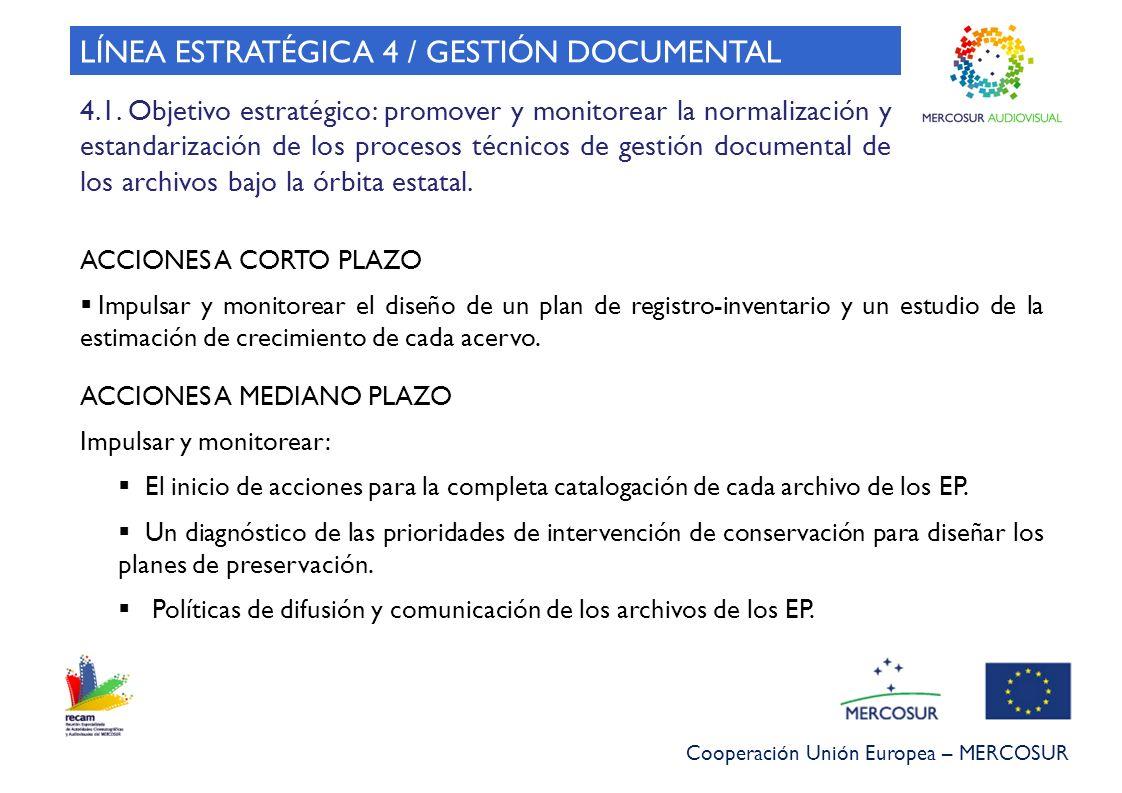 Cooperación Unión Europea – MERCOSUR LÍNEA ESTRATÉGICA 4 / GESTIÓN DOCUMENTAL 4.1. Objetivo estratégico: promover y monitorear la normalización y esta