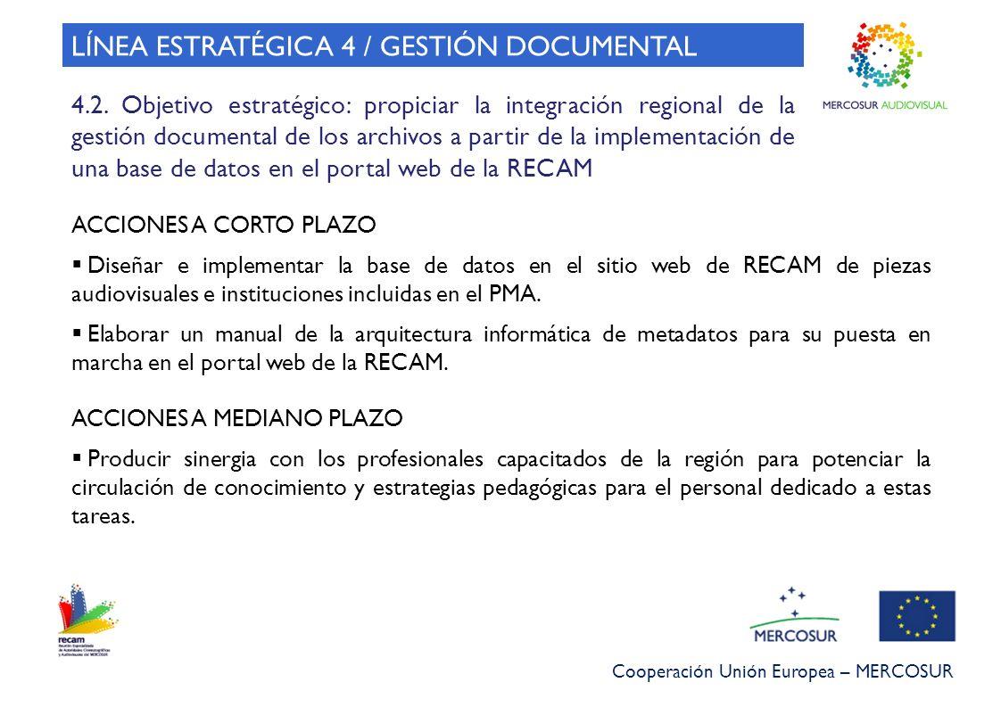 Cooperación Unión Europea – MERCOSUR 4.2. Objetivo estratégico: propiciar la integración regional de la gestión documental de los archivos a partir de