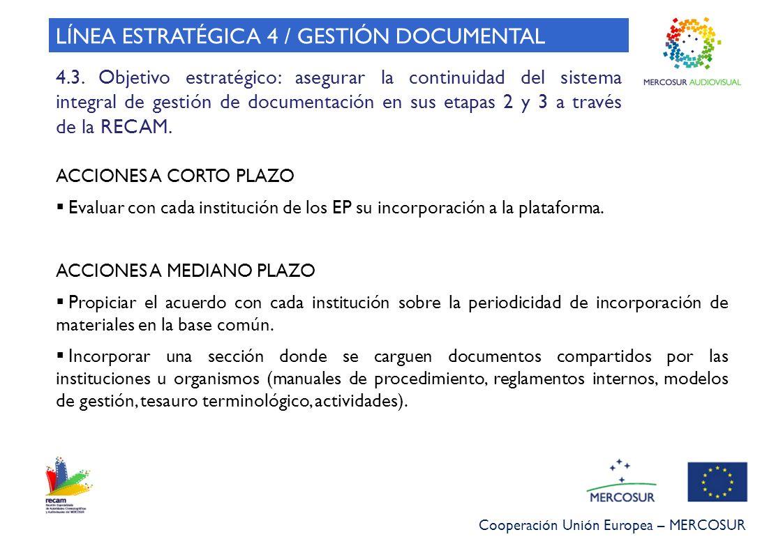 Cooperación Unión Europea – MERCOSUR 4.3. Objetivo estratégico: asegurar la continuidad del sistema integral de gestión de documentación en sus etapas