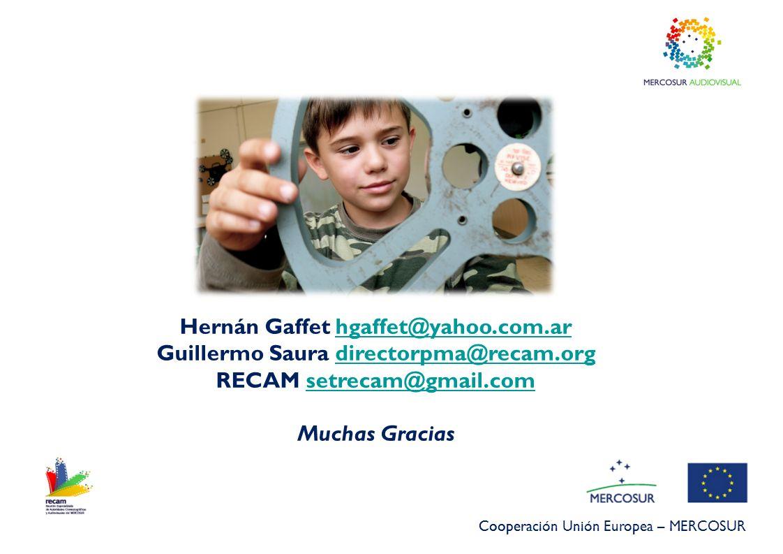 Cooperación Unión Europea – MERCOSUR Hernán Gaffet hgaffet@yahoo.com.arhgaffet@yahoo.com.ar Guillermo Saura directorpma@recam.orgdirectorpma@recam.org