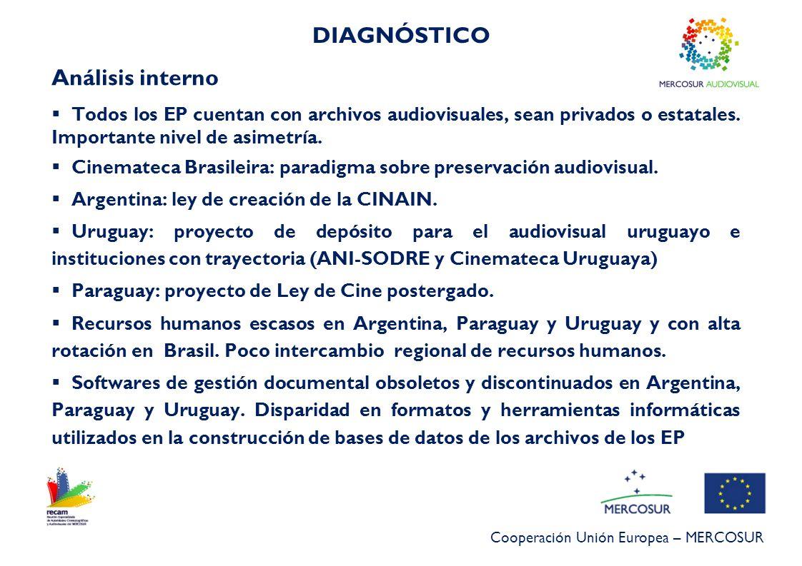 Cooperación Unión Europea – MERCOSUR DIAGNÓSTICO Análisis interno Todos los EP cuentan con archivos audiovisuales, sean privados o estatales. Importan
