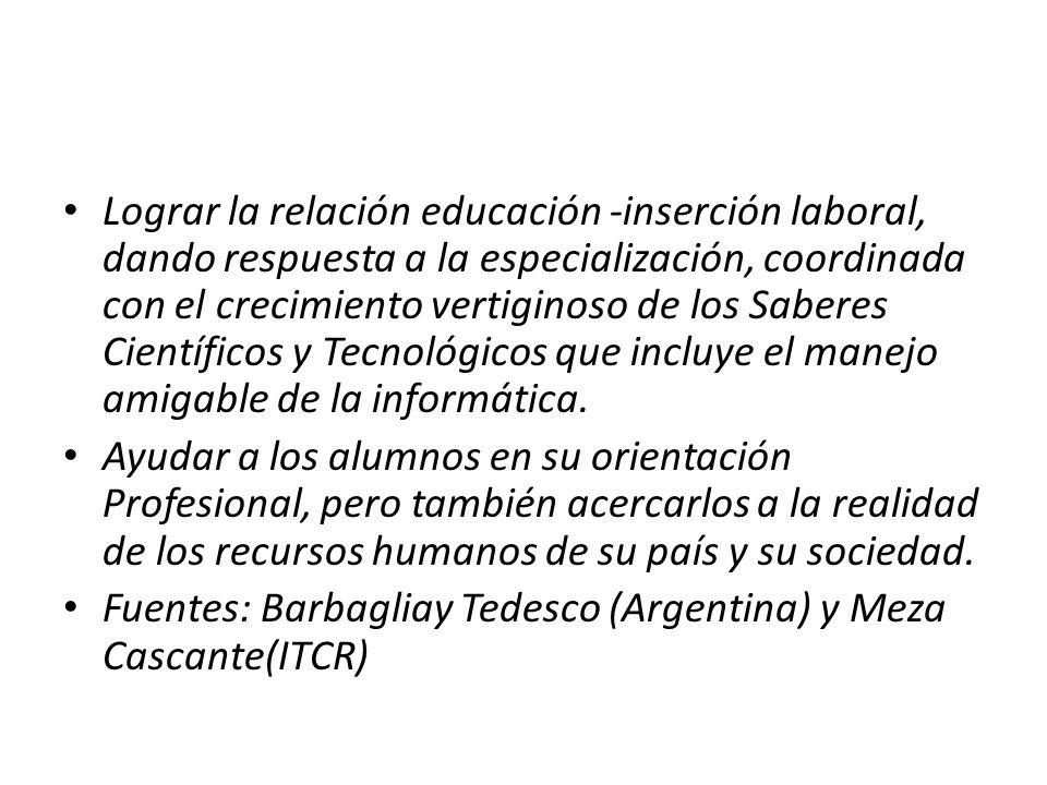 Lograr la relación educación -inserción laboral, dando respuesta a la especialización, coordinada con el crecimiento vertiginoso de los Saberes Cientí