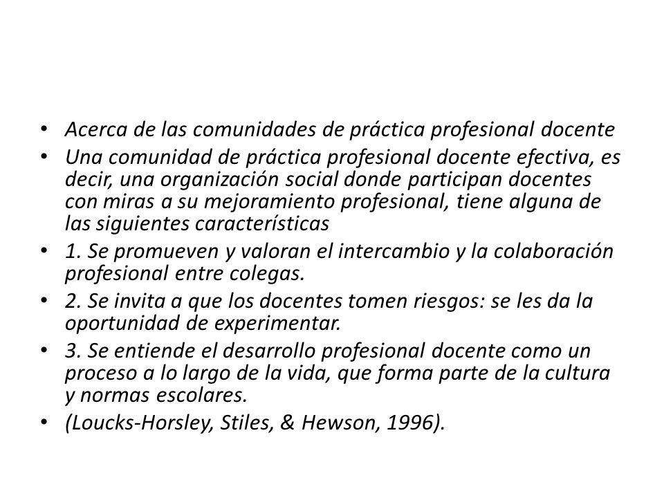 Acerca de las comunidades de práctica profesional docente Una comunidad de práctica profesional docente efectiva, es decir, una organización social do