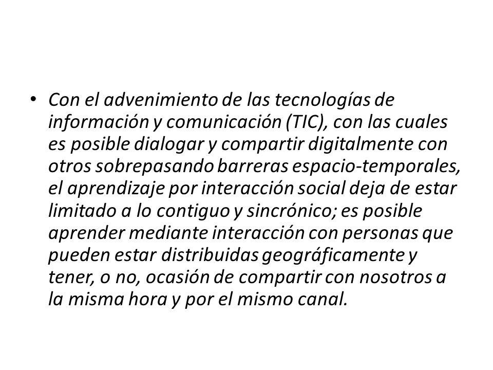 Con el advenimiento de las tecnologías de información y comunicación (TIC), con las cuales es posible dialogar y compartir digitalmente con otros sobr