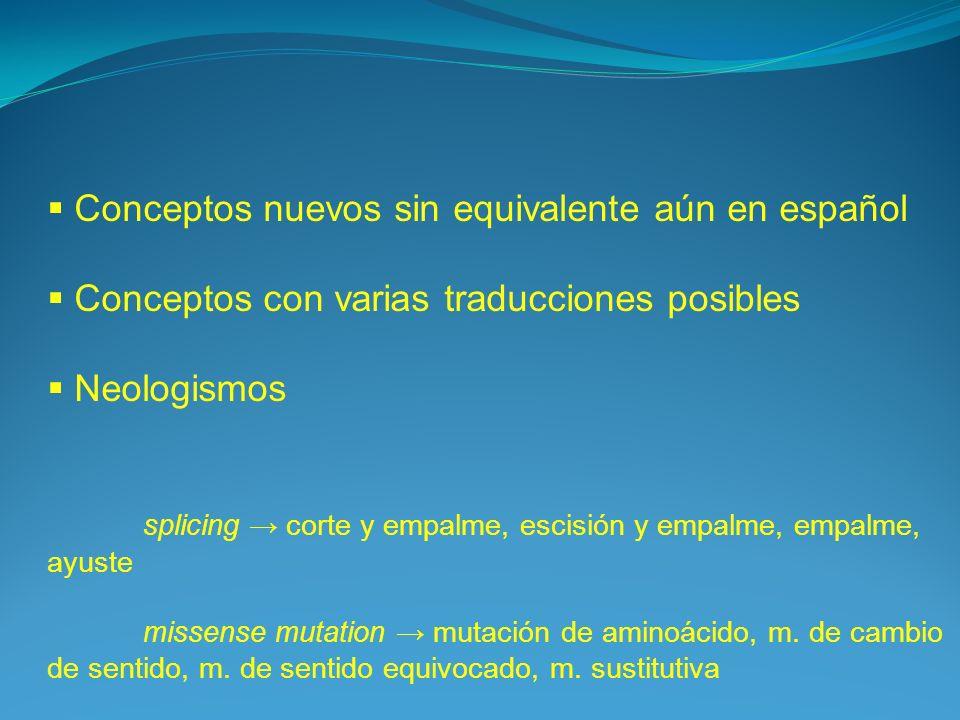 Conceptos nuevos sin equivalente aún en español Conceptos con varias traducciones posibles Neologismos splicing corte y empalme, escisión y empalme, e