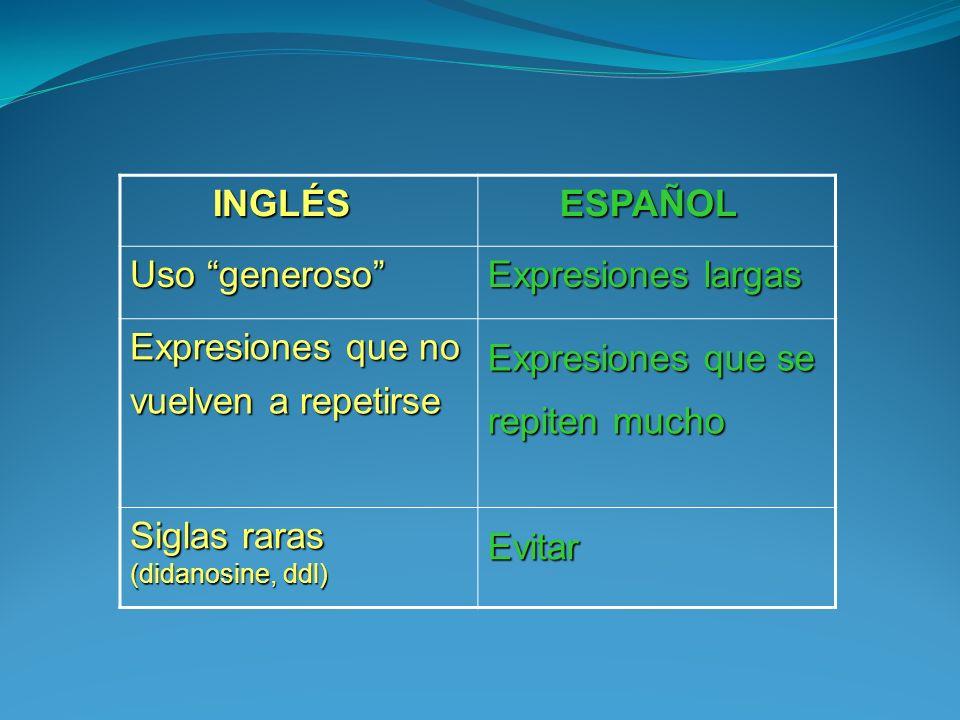 INGLÉS INGLÉS ESPAÑOL ESPAÑOL Uso generoso Expresiones largas Expresiones que no vuelven a repetirse Expresiones que se repiten mucho Siglas raras (di