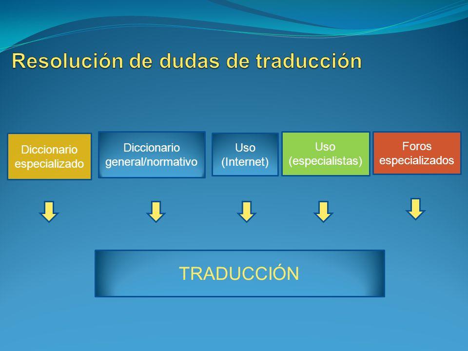 Diccionario especializado Diccionario general/normativo Uso (Internet) Foros especializados Uso (especialistas) TRADUCCIÓN