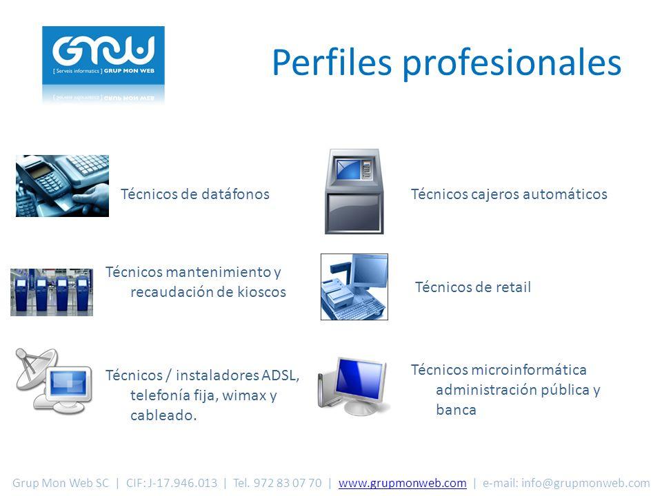 Perfiles profesionales Técnicos / instaladores ADSL, telefonía fija, wimax y cableado.